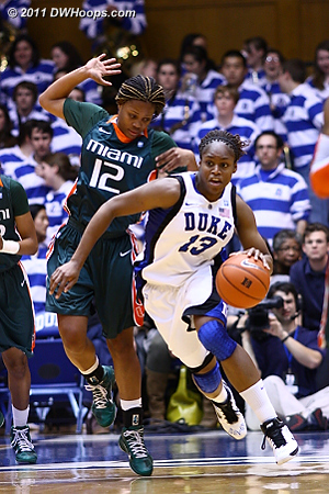 Karima Christmas starts a Blue Devil fast break.  - Duke Tags: #13 Karima Christmas