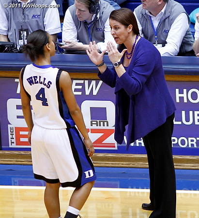 Coach P with some advice for Chloe Wells  - Duke Tags: Joanne P. McCallie 