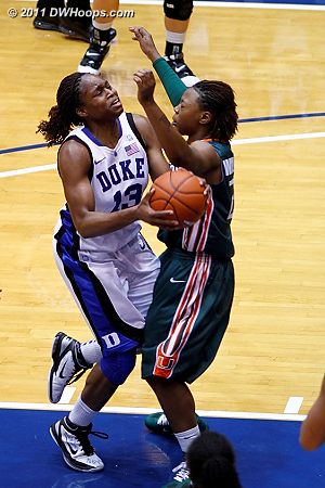 Riquna Williams draws a charge from Karima Christmas (members see entire sequence)  - Duke Tags: #13 Karima Christmas