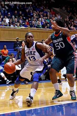 Karima drives on Maria Brown  - Duke Tags: #13 Karima Christmas 
