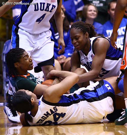 Karima Christmas (right) and Krystal Thomas tie up Morgan Stroman  - Duke Tags: #13 Karima Christmas, #34 Krystal Thomas 