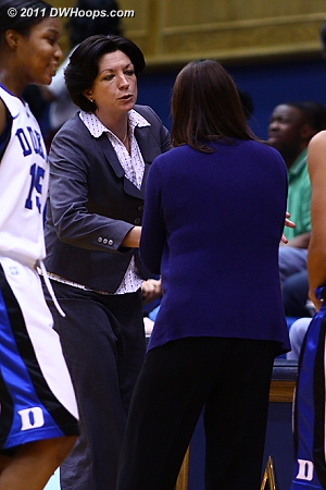Coaches Meier and McCallie shake hands at center court  - Duke Tags: Joanne P. McCallie 