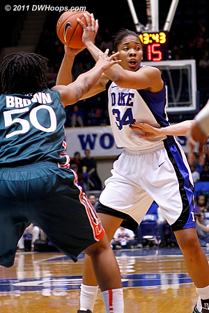 Krystal Thomas at the top of the key, it would be another Blue Devil turnover.  - Duke Tags: #34 Krystal Thomas