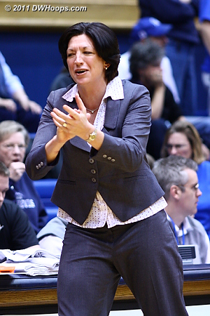 Duke alum Katie Meier applauds her Miami squad taking a 17-14 lead in the first half.  