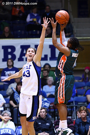 Riquna Williams got way too many open looks, she was 4-9 from long range in the first half alone, scoring 27 on the night.  - Duke Tags: #43 Allison Vernerey