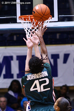 A rare open look for Shenise Johnson put Miami back in front.  