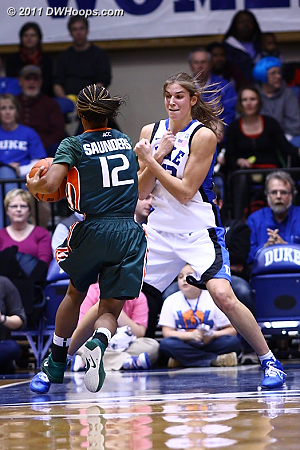 Allison Vernerey squares to draw a charge from Miami's Krystal Saunders.