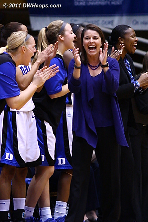Coach P applauds Vernerey taking the charge (members see two more bench photos)  - Duke Tags: Joanne P. McCallie