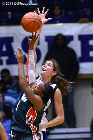 Vernerey gets all ball with one hand but fouls Riquna Williams with the other hand  - Duke Tags: #43 Allison Vernerey