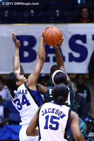 With Duke up ten Krystal Thomas gets a clean block on Bullock  - Duke Tags: #34 Krystal Thomas 