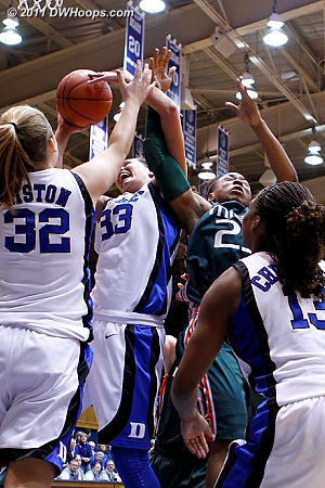 Haley Peters and Shanel Williams tangle for a rebound  - Duke Tags: #33 Haley Peters