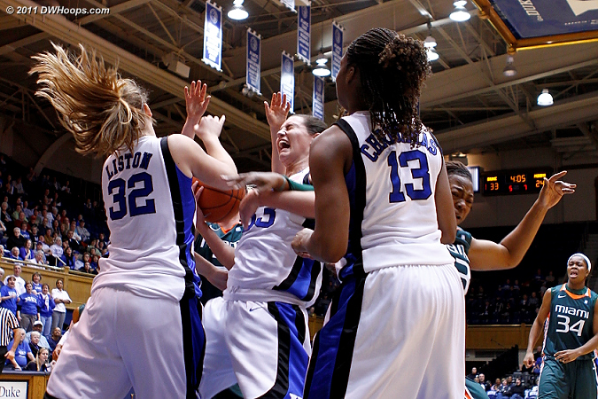 Haley Peters (center) tries to keep possession of an offensive rebound.  - Duke Tags: #33 Haley Peters 