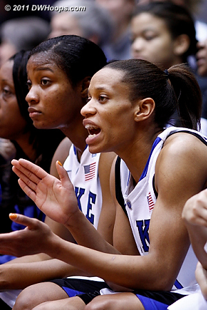 Jasmine Thomas (right), on the bench with two fouls and no points, cheers on the Duke defense  - Duke Tags: #5 Jasmine Thomas 
