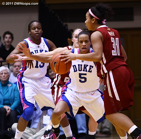 Good D from Jasmine Thomas who tied her season low of four points today  - Duke Tags: #5 Jasmine Thomas