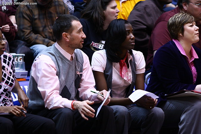 BC assistants Geoff Lanier and Stephanie Lawrence Yelton flank head coach Sylvia Crawley