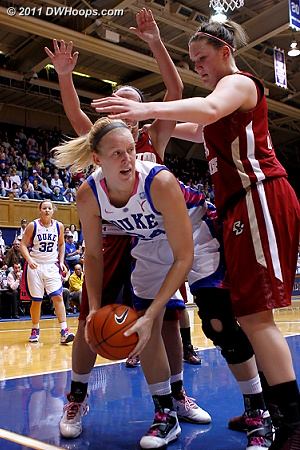 Scheer was then trapped on the baseline, but Duke got a quick timeout  - Duke Tags: #24 Kathleen Scheer