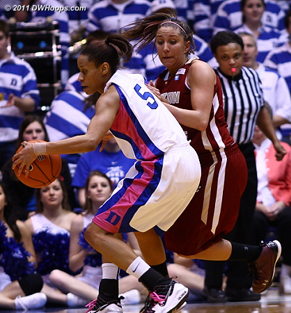 Thoman closely guards Jasmine Thomas in the closing moments of the first half  - Duke Tags: #5 Jasmine Thomas