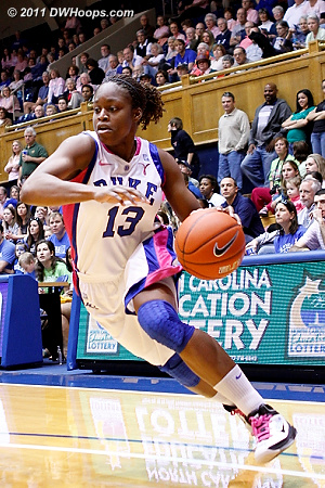 Karima Christmas found new aggressiveness in the BC game,  notching a double-double.  - Duke Tags: #13 Karima Christmas