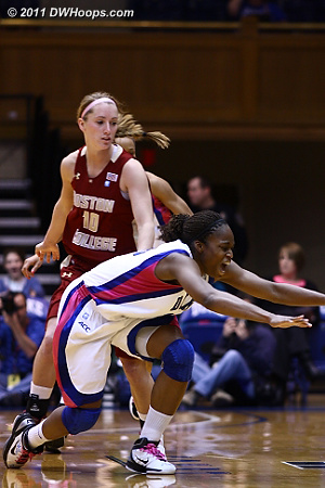 Karima Christmas swiped the ball from Kerri Shields, but lost it out of bounds.  - Duke Tags: #13 Karima Christmas