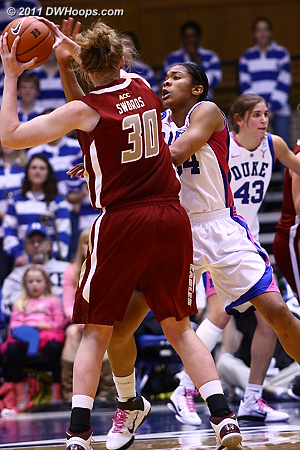 Krystal Thomas guards Carolyn Swords in the high post, well out of Swords range  - Duke Tags: #34 Krystal Thomas