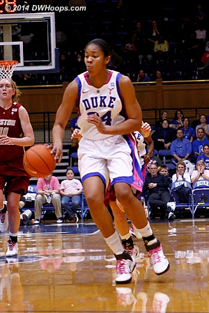 Krystal got a steal and dribbled down court, but had no outlet  - Duke Tags: #34 Krystal Thomas