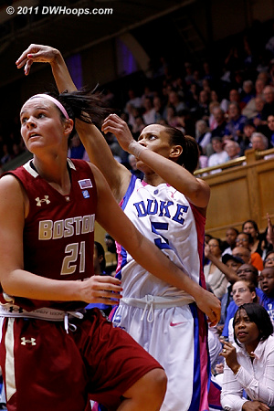 Jasmine Thomas continued her offensive frustration, after just four first half points she was shut out in the second.  - Duke Tags: #5 Jasmine Thomas