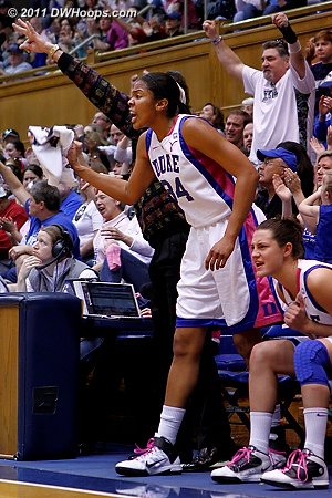 Krystal Thomas cheers from the bench after Selby's basket  - Duke Tags: #34 Krystal Thomas