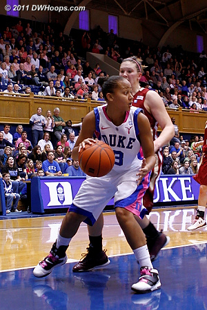 In transition, Kathleen Scheer found Shay Selby in the paint  - Duke Tags: #3 Shay Selby