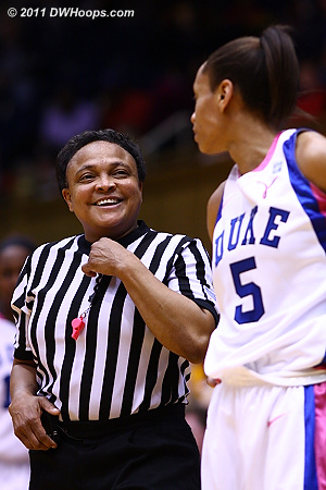 Referee Bonita Spence with a word for Jasmine Thomas during a stoppage in play