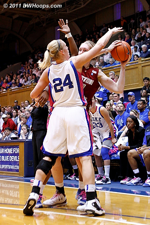 Kathleen Scheer didn't score but contributed in other ways, including almost getting a steal here  - Duke Tags: #24 Kathleen Scheer