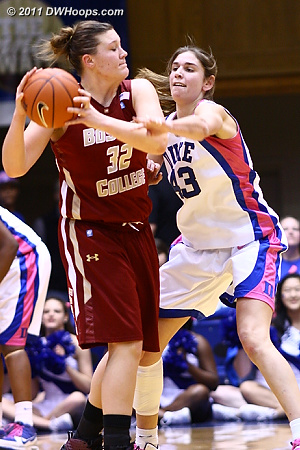 Allison Vernerey closely guards Stefanie Murphy in the final minutes  - Duke Tags: #43 Allison Vernerey
