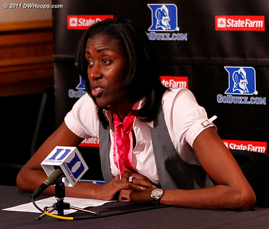 Boston College Head Coach Sylvia Crawley in the Duke media room