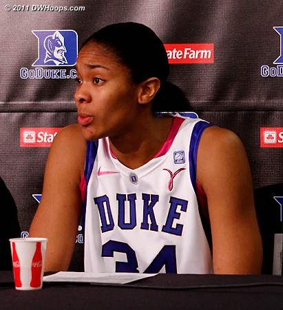 Krystal in the media room after her 16 point and 10 rebound performance  - Duke Tags: #34 Krystal Thomas