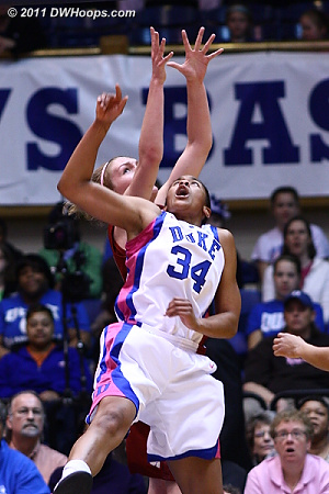K.Thomas and Swords battle on BC's offensive glass  - Duke Tags: #34 Krystal Thomas