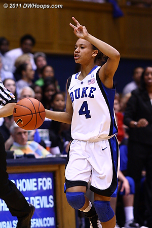 With Gray out, Chloe Wells ran the offense for a while  - Duke Tags: #4 Chloe Wells