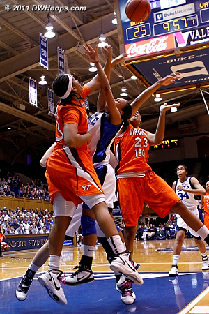 Shanel Harrison fouls Chloe Wells in the paint  - Duke Tags: #4 Chloe Wells
