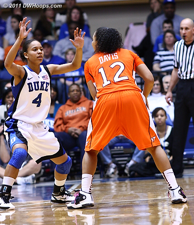 Chloe Wells guards Nikki Davis  - Duke Tags: #4 Chloe Wells