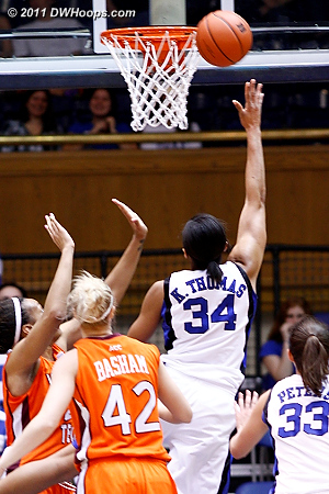 Krystal Thomas went inside to immediately answer  - Duke Tags: #34 Krystal Thomas