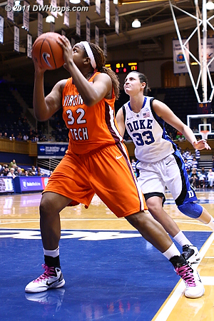 Duke's defense broke down in the closing moments of the first half as Taylor Ayres got free. It was still 45-19 Duke at halftime.