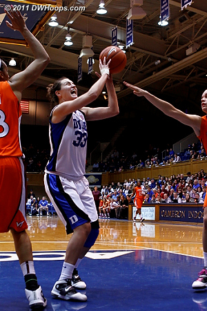 Haley Peters attacks the basket  - Duke Tags: #33 Haley Peters