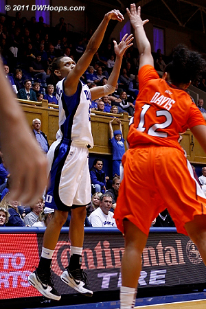 A corner trey from Jas put Duke up by double, 74-37  - Duke Tags: #5 Jasmine Thomas