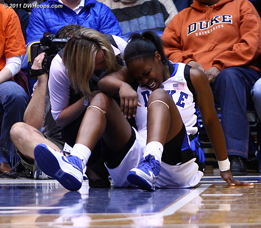 On the next play Gray committed her second foul and badly sprained her ankle  - Duke Tags: #12 Chelsea Gray