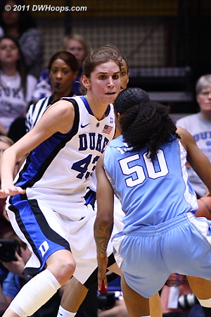 Several Duke players came out to guard three-point threat Lucas  - Duke Tags: #43 Allison Vernerey