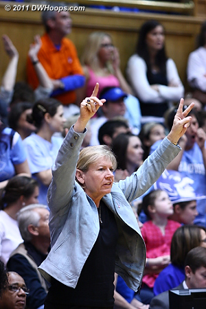 Coach Hatchell on the UNC bench, trying to snap a three game losing streak.