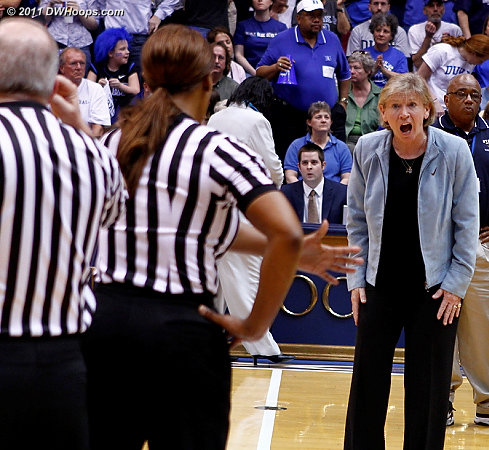 Sylvia Hatchell berates Carla Fountain for not calling a technical foul for delay of game against Duke.  Krystal Thomas did catch the ball after the Wells free throw, but no warning was issued.