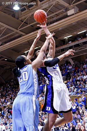 Krystal puts Duke up by two as the scoring is fast and furious  - Duke Tags: #34 Krystal Thomas