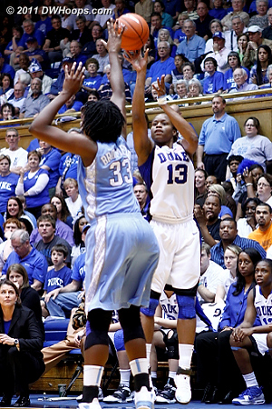 Karima hit from in front of the Duke bench, 38-37 Devils and the Heels would never lead again.  - Duke Tags: #13 Karima Christmas