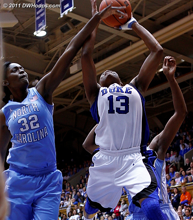 No block was credited but Christmas missed the layup  - Duke Tags: #13 Karima Christmas
