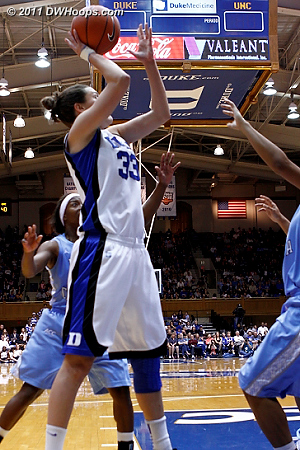 Peters did not give up - she scored on this better look for a 44-40 Duke advantage  - Duke Tags: #33 Haley Peters