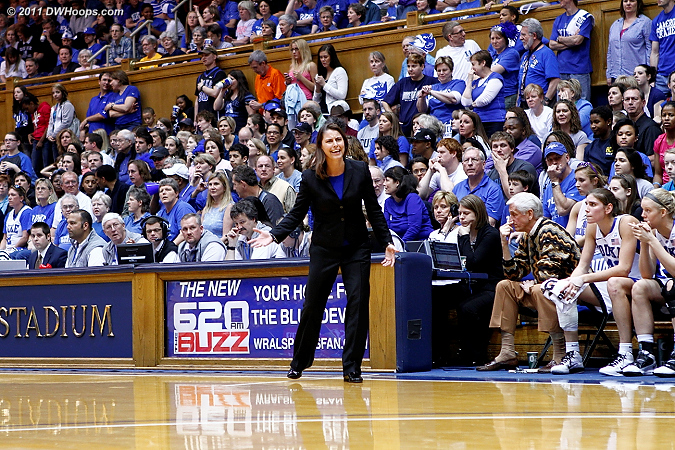In front of the capacity crowd, Coach P looks for an explanation after a Krystal Thomas turnover  - Duke Tags: Joanne P. McCallie